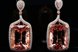 61.00ctw Morganite, 1.00ctw Diamond 18K Earrings