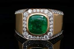 3.90ct Emerald, 1.00ctw SI1-SI2/G-H Diamond 14K Ring