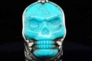 King Baby Turquoise & Sterling Silver Skull Ring