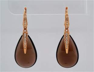 Chimento 1.00ctw Diamond, Smoky Quartz & 18K Earrings