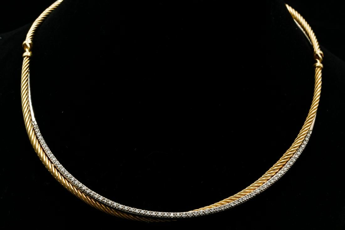 David Yurman 0.60ctw Diamond 18K Collar Necklace