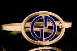 Gucci Vintage 18K Yellow Gold G Bangle Bracelet