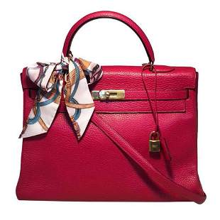 Hermes 35cm Red Clemence Leather Kelly Retourne Bag