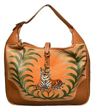 Hermes Hand Painted Tan Leather & Canvas Trim Bag