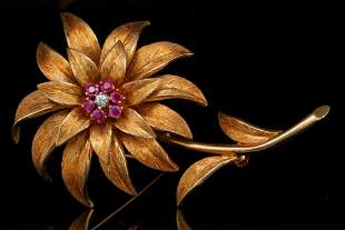 Tiffany & Co. 18K & 0.40ctw Ruby Brooch W/Diamond
