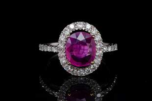 2.00ct GIA No Heat Mozambique Ruby & Diamond Ring