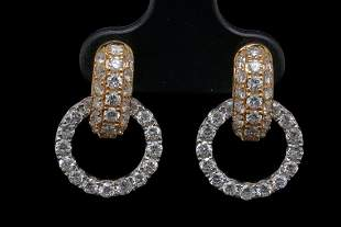 """1.75ctw VS2-SI1/G-H Diamond 18K 0.75"""" Earrings"""