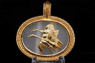 Ilias Lalaounis 18K & Crystal Flying Geese Pendant
