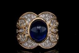 7.25ct Blue Sapphire, 0.90ctw Diamond 18K Ring