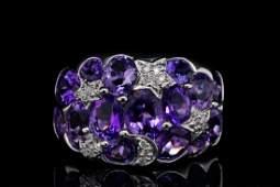 2.50ctw Amethyst & 18K White Gold Ring W/Diamonds