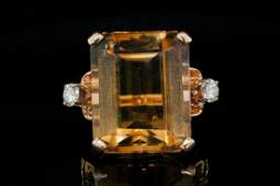 13.00ct Citrine, 0.25ctw Diamond 14K Ring