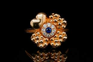 Fred Paris Vintage Kashmir Sapphire, Diamond 18K Ring