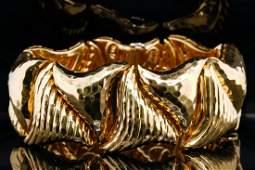 "Henry Dunay 18K Yellow Gold 7"" Wavy Link Bracelet"