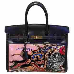 Hermes 35cm Brown Leather Custom Hand Painted Birkin