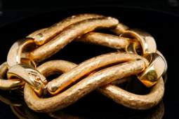 "Italian 18K Yellow Gold 7.25"" Textured Link Bracelet"
