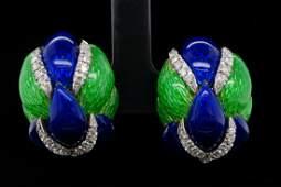 1.00ctw VS2-SI1/G-H Diamond, Enamel 18K Ear Clips