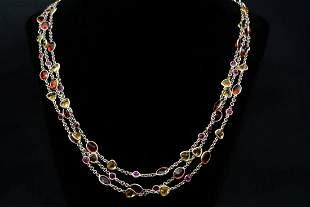 "61.50ctw Multi-Gemstone 14K White Gold 64"" Necklace"