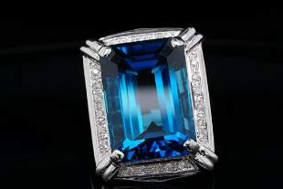 23.00ct Blue Topaz & 14K Ring W/Diamond Accents