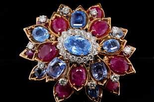 40.25ctw Blue Sapphire, Ruby & Diamond 18K Brooch