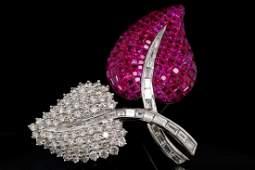 700ctw Diamond 600ctw Ruby  18K Leaf Brooch