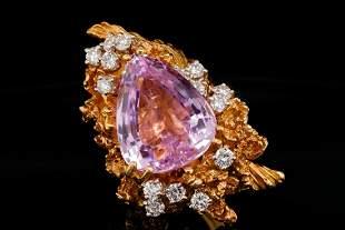 Wachler 13.00ct Kunzite, 1.50ctw Diamond 18K Ring