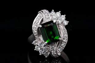 2.75ct Green Tourmaline, 0.75ctw Diamond Plat. Ring