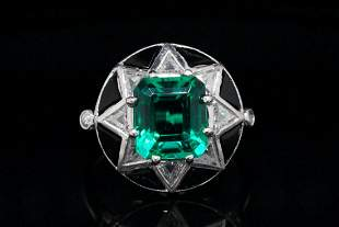 2.50ct Green Gemstone, 0.50ctw Diamond Platinum Ring