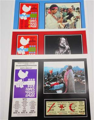 Woodstock Lot of (3) Poster Prints W/Concert Images
