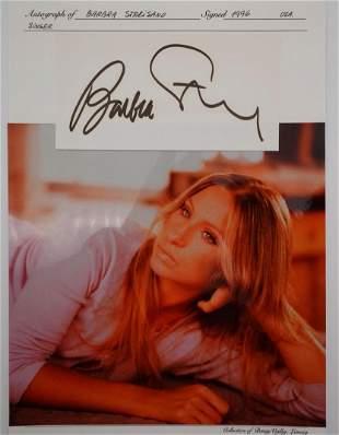 Barbra Streisand Autographed Card W/Photo & COA