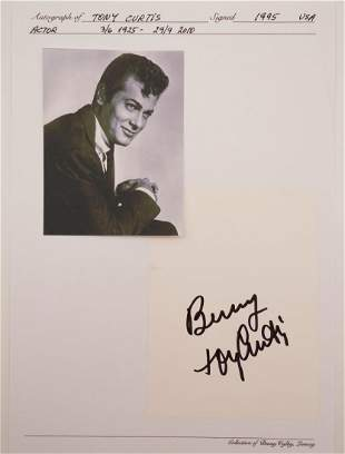 Tony Curtis Autograph on Paper Signed in Person
