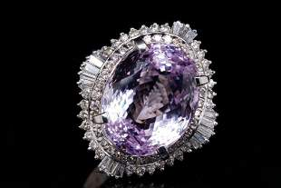 23.80ct Kunzite, 1.50ctw Diamond Platinum Ring