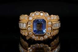 2.25ct Blue Sapphire, 1.40ctw Diamond 18K Ring
