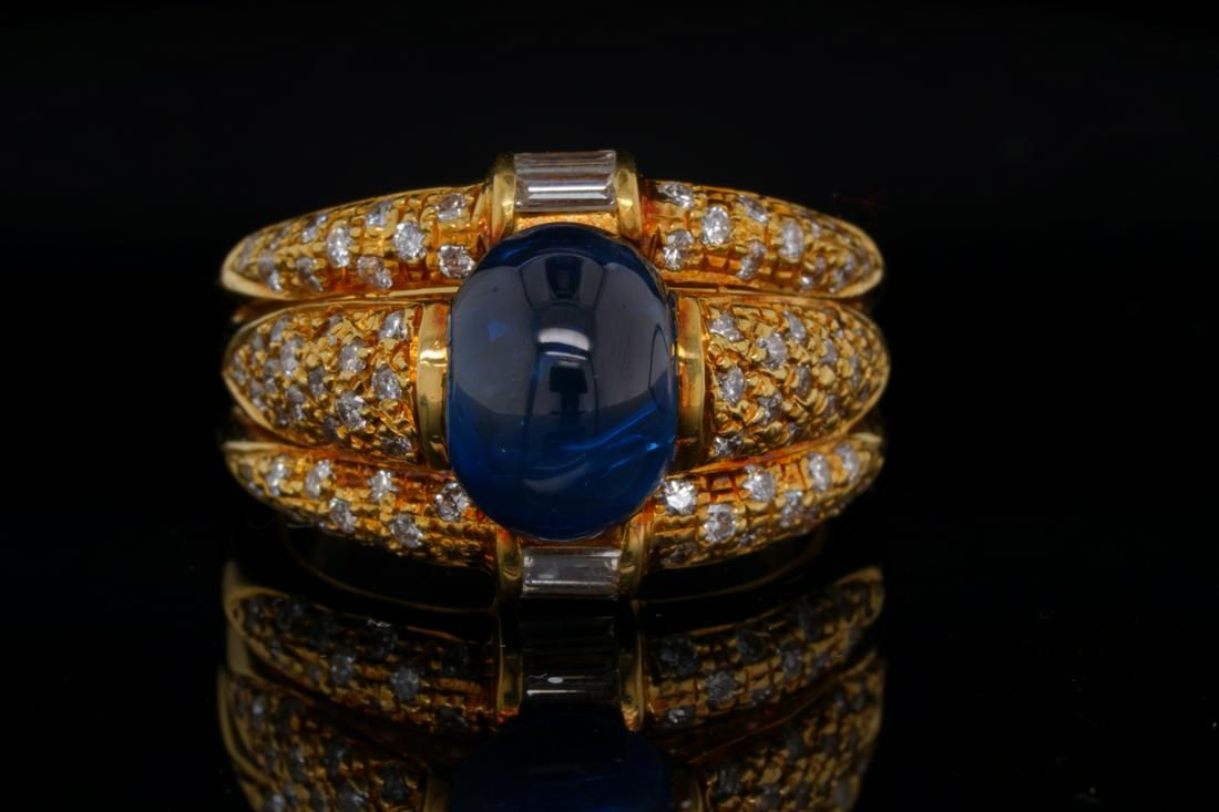 3.50ct Blue Sapphire, 0.95ctw Diamond & 18K Ring