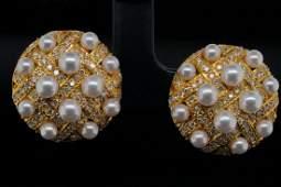 3mm-4.5mm Akoya Pearl, 0.50ctw Diamond 18K Ear Clips