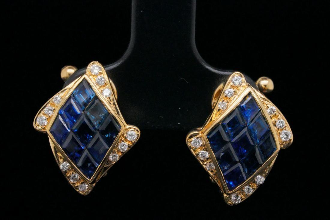 2.30ctw Blue Sapphire & 18K Ear Clips W/Diamonds