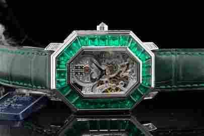 Corum 11.75ctw Emerald & Diamond 18K 39mm Watch