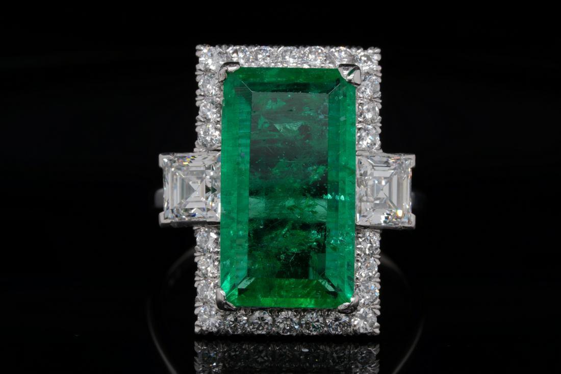 6.00ct Colombian Emerald, 2.00ctw Diamond Plat. Ring