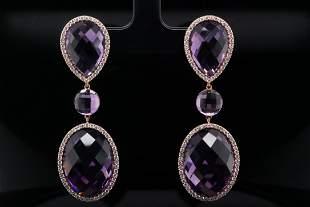 Roberto Coin 40.00ctw Amethyst, Diamond 18K Earrings