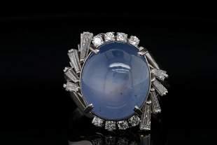 16.00ct Blue Sapphire, 0.70ctw Diamond Platinum Ring