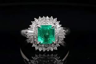 1.80ct Emerald, 0.70ctw Diamond Platinum Ring