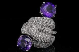 5.90ctw Amethyst, 2.25ctw Diamond 18K Ring