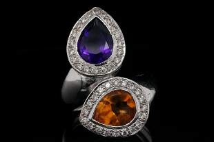 4.00ctw Amethyst & Citrine, 0.40ctw Diamond 18K Ring