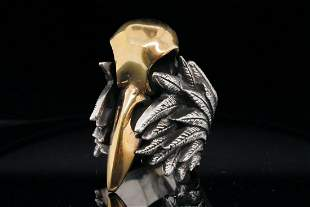 King Baby Solid Sterling Silver Raven Skull Ring