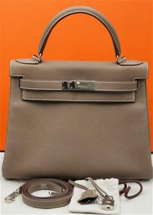 Hermes 28cm Kelly Retourne in Etoupe Togo Leather