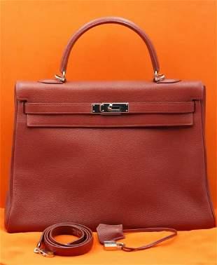 Hermes 35cm Kelly Retourne in Rouge Togo Leather