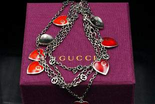 Gucci Sterling Silver Enamel Hearts Necklace