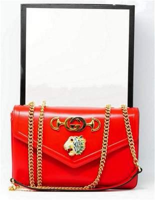 Gucci Hibiscus Leather Rajah Medium Shoulder Bag
