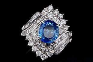 3.00ct Blue Sapphire, 1.50ctw Diamond Platinum Ring