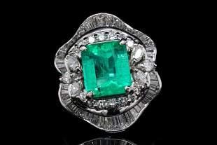 4.30ct Emerald, 2.50ctw Diamond Platinum Ring