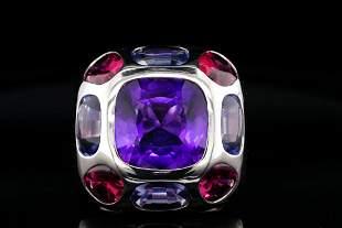 Chanel 13.25ctw Multi-Gemstone 18K Coco Ring